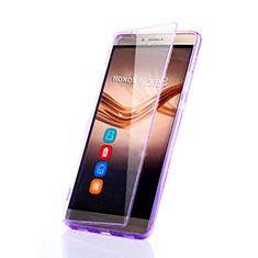 Silikon Hülle Handyhülle Flip Schutzhülle Durchsichtig Transparent für Huawei Honor V8 Max Violett