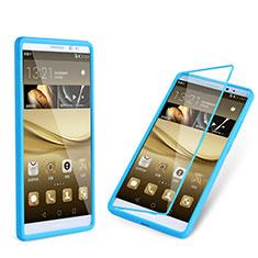 Silikon Hülle Handyhülle Flip Schutzhülle Durchsichtig Transparent für Huawei Mate 8 Hellblau