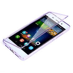 Silikon Hülle Handyhülle Flip Schutzhülle Durchsichtig Transparent für Huawei P8 Lite Violett
