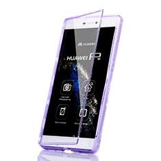 Silikon Hülle Handyhülle Flip Schutzhülle Durchsichtig Transparent für Huawei P8 Violett