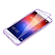 Silikon Hülle Handyhülle Flip Schutzhülle Durchsichtig Transparent für Huawei P9 Violett