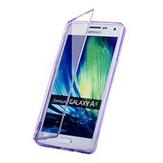 Silikon Hülle Handyhülle Flip Schutzhülle Durchsichtig Transparent für Samsung Galaxy A5 Duos SM-500F Violett