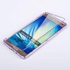 Silikon Hülle Handyhülle Flip Schutzhülle Durchsichtig Transparent für Samsung Galaxy A7 SM-A700 Violett