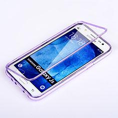 Silikon Hülle Handyhülle Flip Schutzhülle Durchsichtig Transparent für Samsung Galaxy J5 SM-J500F Violett