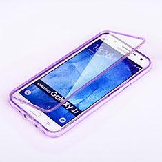 Silikon Hülle Handyhülle Flip Schutzhülle Durchsichtig Transparent für Samsung Galaxy J7 SM-J700F J700H Violett