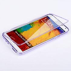 Silikon Hülle Handyhülle Flip Schutzhülle Durchsichtig Transparent für Samsung Galaxy Note 3 N9000 Violett