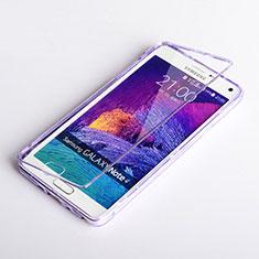 Silikon Hülle Handyhülle Flip Schutzhülle Durchsichtig Transparent für Samsung Galaxy Note 4 Duos N9100 Dual SIM Violett