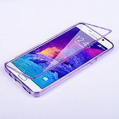 Silikon Hülle Handyhülle Flip Schutzhülle Durchsichtig Transparent für Samsung Galaxy Note 5 N9200 N920 N920F Violett