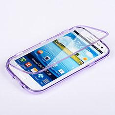 Silikon Hülle Handyhülle Flip Schutzhülle Durchsichtig Transparent für Samsung Galaxy S3 III i9305 Neo Violett