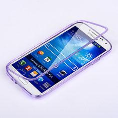 Silikon Hülle Handyhülle Flip Schutzhülle Durchsichtig Transparent für Samsung Galaxy S4 i9500 i9505 Violett