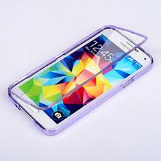 Silikon Hülle Handyhülle Flip Schutzhülle Durchsichtig Transparent für Samsung Galaxy S5 G900F G903F Violett