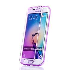 Silikon Hülle Handyhülle Flip Schutzhülle Durchsichtig Transparent für Samsung Galaxy S6 Edge SM-G925 Violett