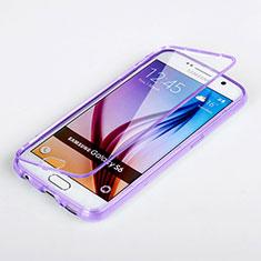 Silikon Hülle Handyhülle Flip Schutzhülle Durchsichtig Transparent für Samsung Galaxy S6 SM-G920 Violett
