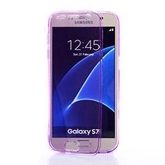 Silikon Hülle Handyhülle Flip Schutzhülle Durchsichtig Transparent für Samsung Galaxy S7 G930F G930FD Violett