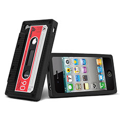 Silikon Hülle Handyhülle Gummi Schutzhülle Cassette für Apple iPhone 4 Schwarz