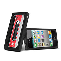 Silikon Hülle Handyhülle Gummi Schutzhülle Cassette für Apple iPhone 4S Schwarz