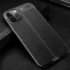 Silikon Hülle Handyhülle Gummi Schutzhülle Flexible Leder Tasche für Apple iPhone 12 Pro Schwarz