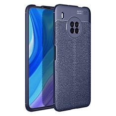 Silikon Hülle Handyhülle Gummi Schutzhülle Flexible Leder Tasche für Huawei Y9a Blau