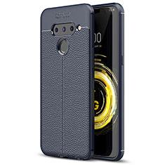 Silikon Hülle Handyhülle Gummi Schutzhülle Flexible Leder Tasche für LG V50 ThinQ 5G Blau