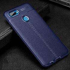 Silikon Hülle Handyhülle Gummi Schutzhülle Flexible Leder Tasche für Oppo A12 Blau