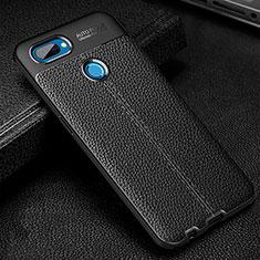 Silikon Hülle Handyhülle Gummi Schutzhülle Flexible Leder Tasche für Oppo A12 Schwarz