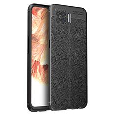 Silikon Hülle Handyhülle Gummi Schutzhülle Flexible Leder Tasche für Oppo A73 (2020) Schwarz