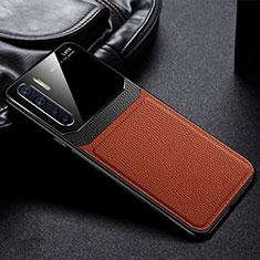 Silikon Hülle Handyhülle Gummi Schutzhülle Flexible Leder Tasche für Oppo A91 Braun
