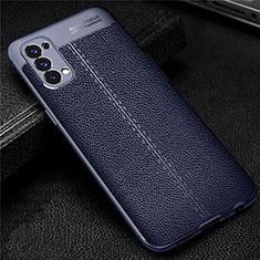 Silikon Hülle Handyhülle Gummi Schutzhülle Flexible Leder Tasche für Oppo Reno4 4G Blau