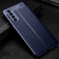 Silikon Hülle Handyhülle Gummi Schutzhülle Flexible Leder Tasche für Oppo Reno4 Pro 4G Blau