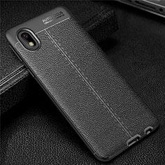 Silikon Hülle Handyhülle Gummi Schutzhülle Flexible Leder Tasche für Samsung Galaxy A01 Core Schwarz