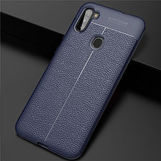 Silikon Hülle Handyhülle Gummi Schutzhülle Flexible Leder Tasche für Samsung Galaxy A11 Blau