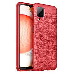 Silikon Hülle Handyhülle Gummi Schutzhülle Flexible Leder Tasche für Samsung Galaxy A12 Rot