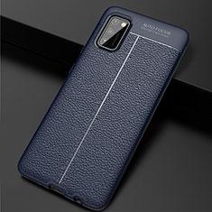 Silikon Hülle Handyhülle Gummi Schutzhülle Flexible Leder Tasche für Samsung Galaxy A41 Blau