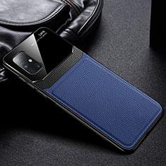 Silikon Hülle Handyhülle Gummi Schutzhülle Flexible Leder Tasche für Samsung Galaxy A71 5G Blau