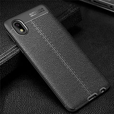 Silikon Hülle Handyhülle Gummi Schutzhülle Flexible Leder Tasche für Samsung Galaxy M01 Core Schwarz