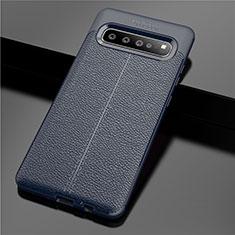Silikon Hülle Handyhülle Gummi Schutzhülle Flexible Leder Tasche für Samsung Galaxy S10 5G SM-G977B Blau