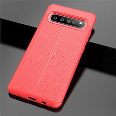 Silikon Hülle Handyhülle Gummi Schutzhülle Flexible Leder Tasche für Samsung Galaxy S10 5G SM-G977B Rot
