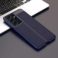Silikon Hülle Handyhülle Gummi Schutzhülle Flexible Leder Tasche für Samsung Galaxy S21 Ultra 5G Blau