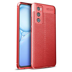 Silikon Hülle Handyhülle Gummi Schutzhülle Flexible Leder Tasche für Vivo V20 SE Rot