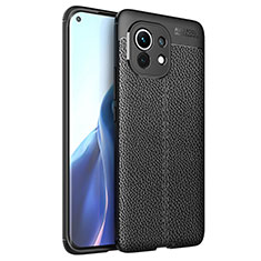 Silikon Hülle Handyhülle Gummi Schutzhülle Flexible Leder Tasche für Xiaomi Mi 11 5G Schwarz