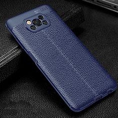 Silikon Hülle Handyhülle Gummi Schutzhülle Flexible Leder Tasche für Xiaomi Poco X3 NFC Blau