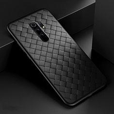 Silikon Hülle Handyhülle Gummi Schutzhülle Flexible Leder Tasche für Xiaomi Redmi 9 Prime India Schwarz