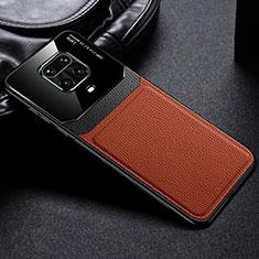 Silikon Hülle Handyhülle Gummi Schutzhülle Flexible Leder Tasche für Xiaomi Redmi Note 9 Pro Braun