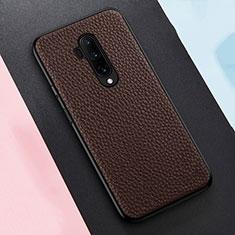 Silikon Hülle Handyhülle Gummi Schutzhülle Flexible Leder Tasche H01 für OnePlus 7T Pro Braun
