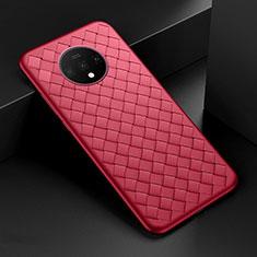Silikon Hülle Handyhülle Gummi Schutzhülle Flexible Leder Tasche H01 für OnePlus 7T Rot