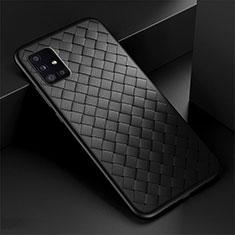 Silikon Hülle Handyhülle Gummi Schutzhülle Flexible Leder Tasche H01 für Samsung Galaxy A51 5G Schwarz