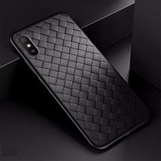 Silikon Hülle Handyhülle Gummi Schutzhülle Flexible Leder Tasche H01 für Xiaomi Redmi 9A Schwarz