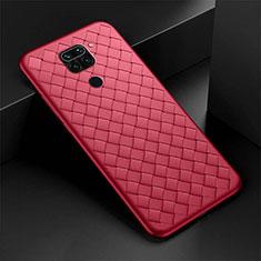 Silikon Hülle Handyhülle Gummi Schutzhülle Flexible Leder Tasche H01 für Xiaomi Redmi Note 9 Rot