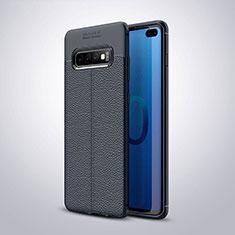 Silikon Hülle Handyhülle Gummi Schutzhülle Flexible Leder Tasche H02 für Samsung Galaxy S10 Plus Blau