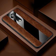 Silikon Hülle Handyhülle Gummi Schutzhülle Flexible Leder Tasche H03 für OnePlus 7T Pro Braun
